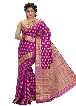 Magenta Art Silk Zari Weave Designed Saree