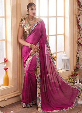 Magenta Crystal Embellished Saree