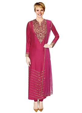 Magenta Embellished Churidar Suit