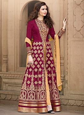 Magenta Embroidered Anarkali Suit