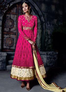 Magenta Embroidered Anarklai Suit