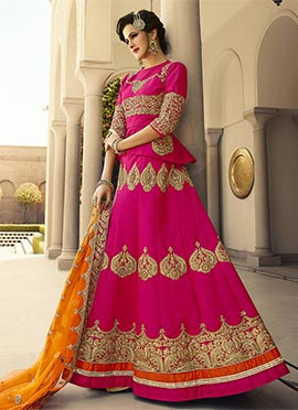 Magenta Embroidered Lehenga Choli