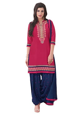 Magenta Embroidered Patiala Suit