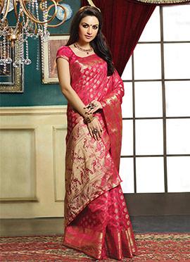 Magenta Floral patterned Saree