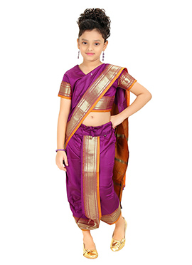 Magenta Kids Readymade Saree