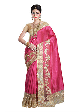 Magenta Matka Silk Border Saree