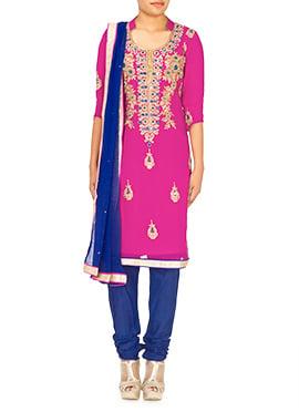 Magenta Mirror Worked Churidar Suit