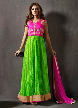 Magenta N Green Anarkali Suit