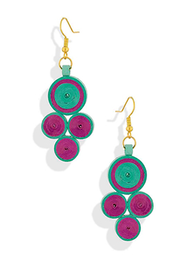 Magenta N Green Hoop Earrings