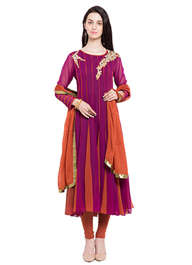 Magenta N Orange Georgette Kalidar Suit