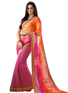 Magenta N Orange Half N Half Saree