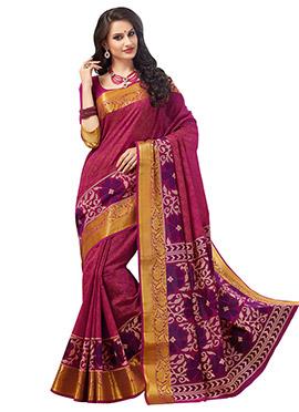 Magenta N Orange Silk Cotton Printed Saree
