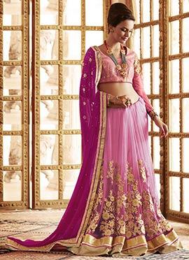 Magenta N Pink Half N Half Saree