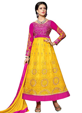 Magenta N Yellow Ankle Length Anarkali Suit