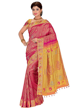 Magenta N Yellow Foliage Designed Saree