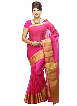Magenta Pink Art Organza Tussar Silk Border Saree