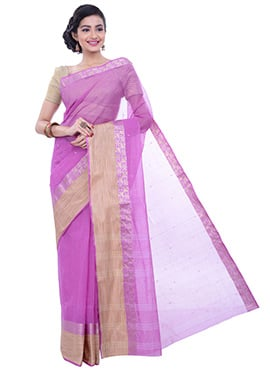 Magenta Pink Cotton Border Saree