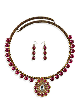 Magenta Stone Beautified Choker Necklace Set