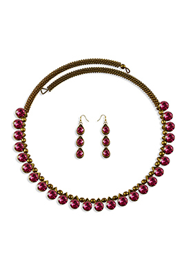 Magenta Stone Enhanced Choker Necklace Set