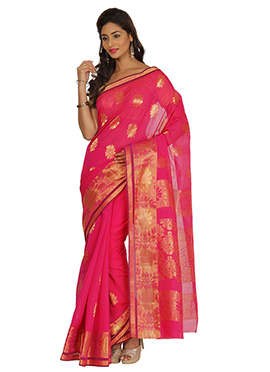 Magenta Zari Weaving Silk Cotton Saree