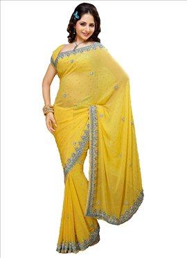 Magnificent Look Crystals Enhanced Chiffon Saree