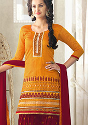 Majestic Orange Chanderi Patiala Suit