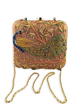 Majrooh Silk Brown Peacock Style Box Clutch