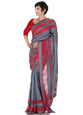 Mandira Bedi  Grey Pure Silk Saree