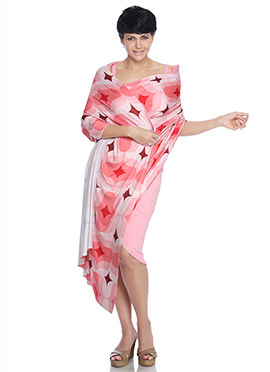 Mandira Bedi Pink N Off White Indowestern Saree