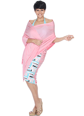 Mandira Bedi Pink N Off White Indowestern Saree