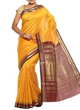 Mango Yellow Jacquard Tussar Silk Saree
