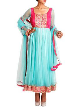 Mansi Vuppala Pink N Turquoise Anarkali
