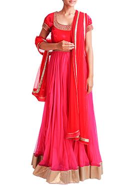 Mansi Vuppala Red N Pink Floor Length Anarkali