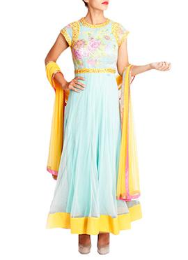 Mansi Vuppala Turquoise Anarkali Suit