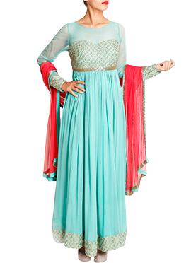 Mansi Vuppala Turquoise Ankle Length Anarkali