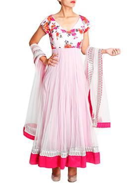 Mansi Vuppala White N Pink Anarkali Suit