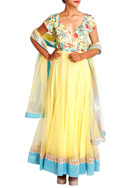 Mansi Vuppala Yellow Anarkali Suit