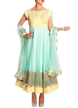 Mansi Vuppala Yellow N Turquoise Anarkali