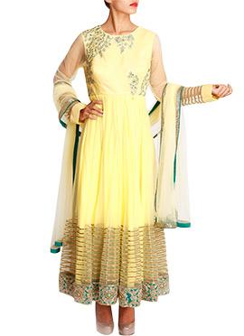 Mansi Vuppala Yellow Net Ankle Length Anarkali
