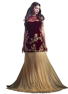 Maroon And Beige Long Choli Lehenga