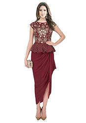 Maroon Art Silk Georgette Dress IWDRSKE8004