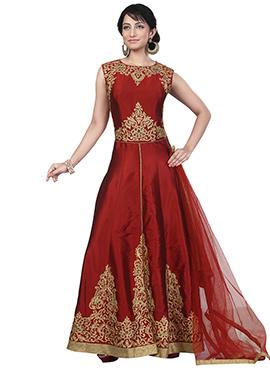 Maroon Art Silk Mid Slit Anarkali Suit