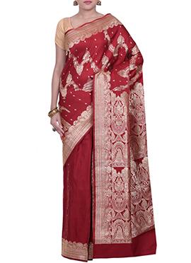 Maroon Benarasi Handloom Silk Saree