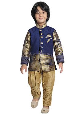 Dark Blue N Gold Boys Indowestern Sherwani