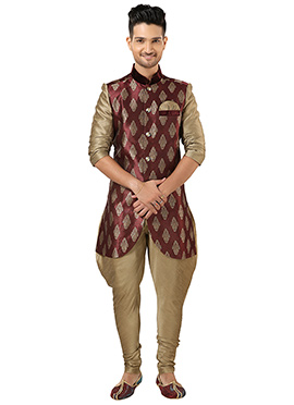 Maroon Brocade Indowestern Kurta Pyjama