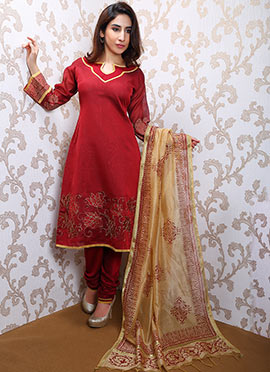 Maroon Chanderi Churidar Suit