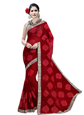Maroon Chiffon Foliage Patterned Saree
