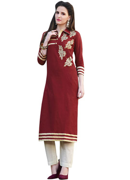 Maroon Cotton Embroidered Long Kurti
