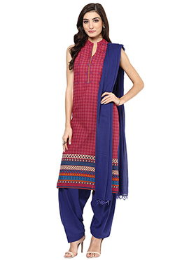 Maroon Cotton Printed Salwar Suit