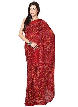 Maroon Crepe Bandhini Pattern Saree